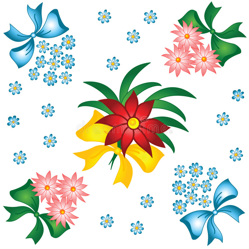 Blumenmuster. Kleine Blumensträuße mit Bögen. stock abbildung