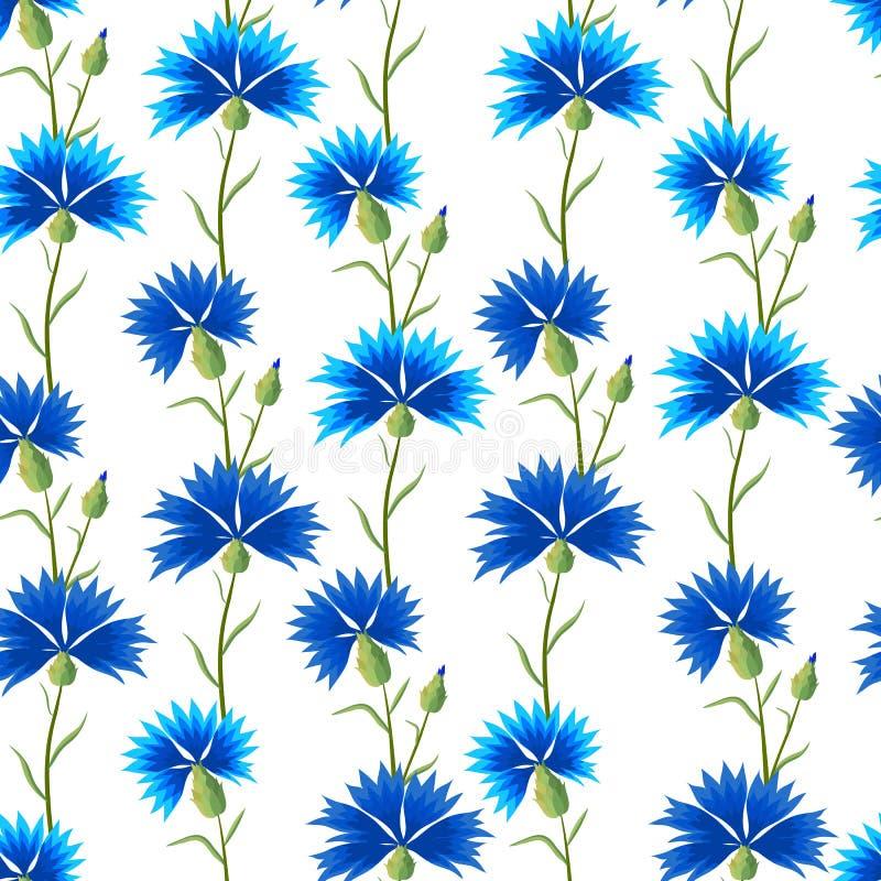 Blumenmuster mit Kornblumen stockbild
