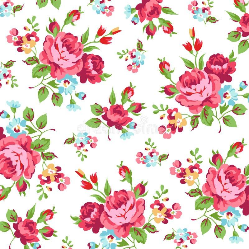 Blumenmuster mit Rotrose lizenzfreies stockbild