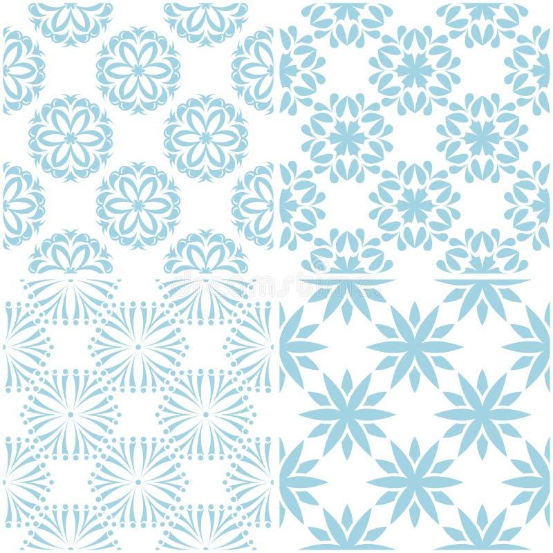 Blumenmuster Satz hellblaue Elemente auf Weiß Nahtlose Hintergründe stock abbildung