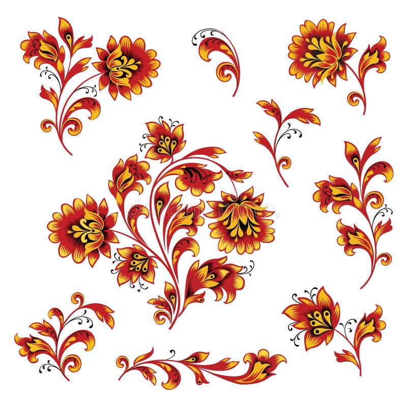 Blumenmustergestaltungselementsatz Ornamental blüht russische Artsammlung vektor abbildung