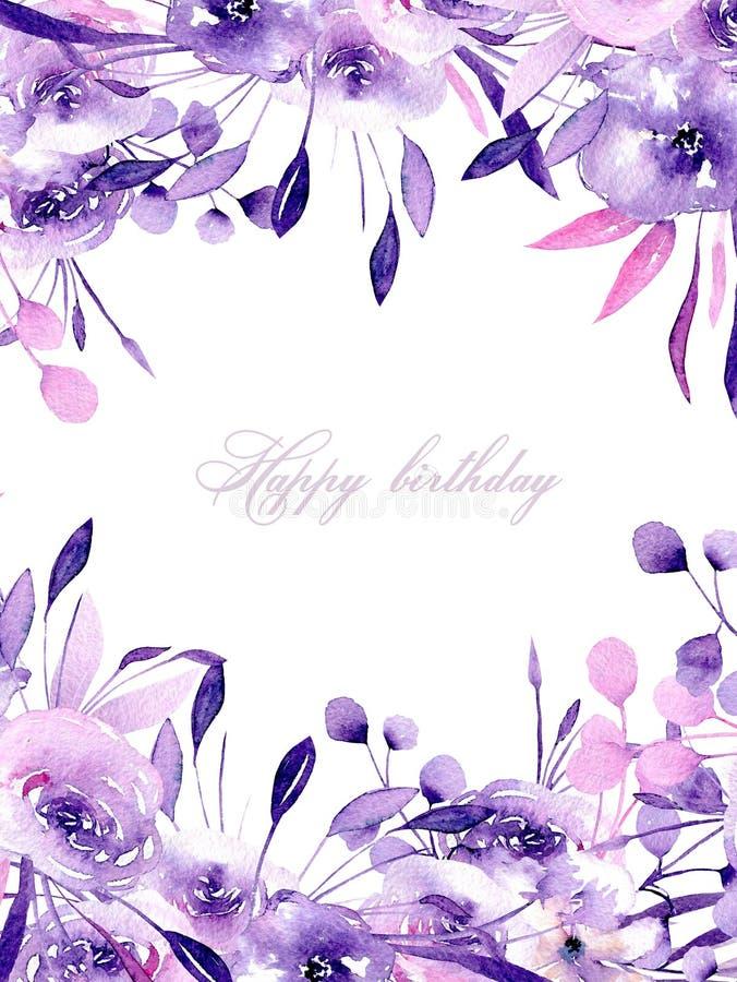 Blumenmusterkarte mit purpurroten Rosen und Kräutern des Aquarells lizenzfreie abbildung
