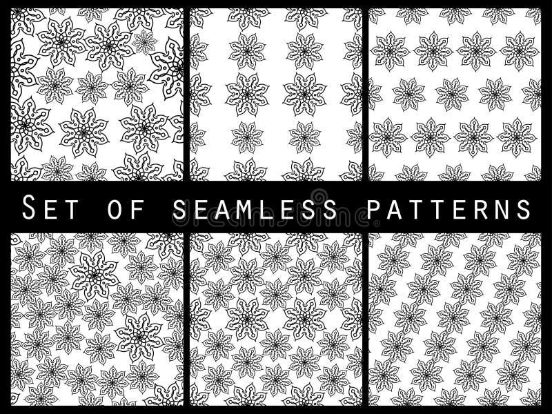 Blumennahtloser Musterschwarzweiss-satz Für Tapete Bettwäsche, Fliesen, Gewebe, Hintergründe lizenzfreie abbildung