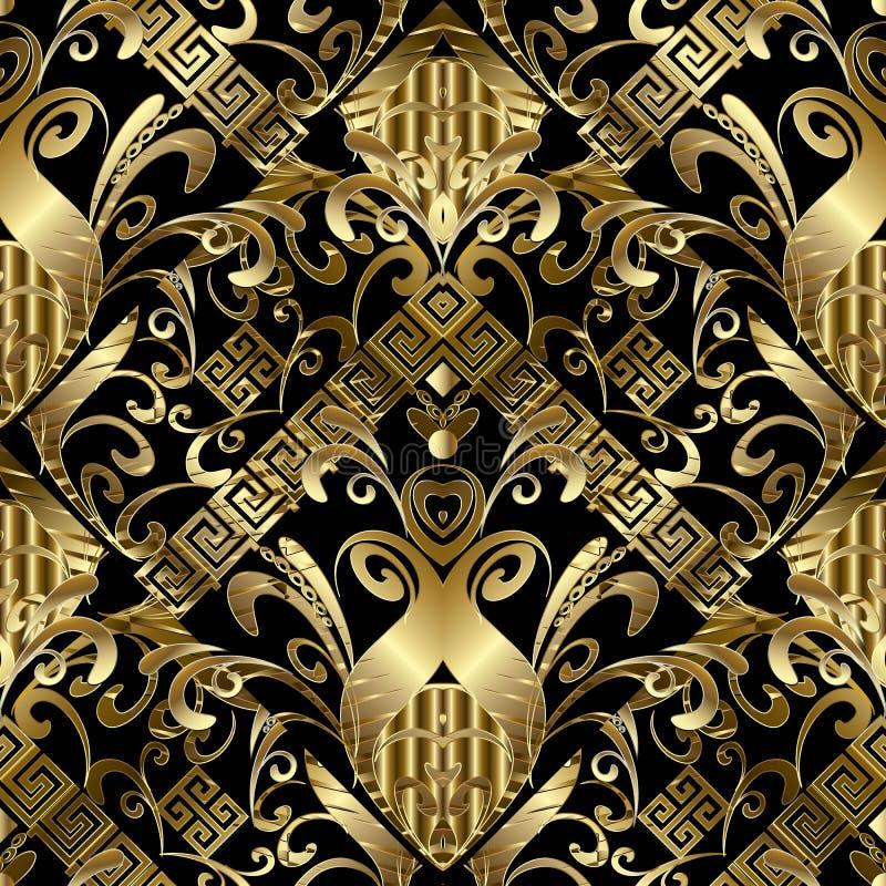 Blumennahtloses Muster des gold 3d Vektordamasthintergrund mit h vektor abbildung