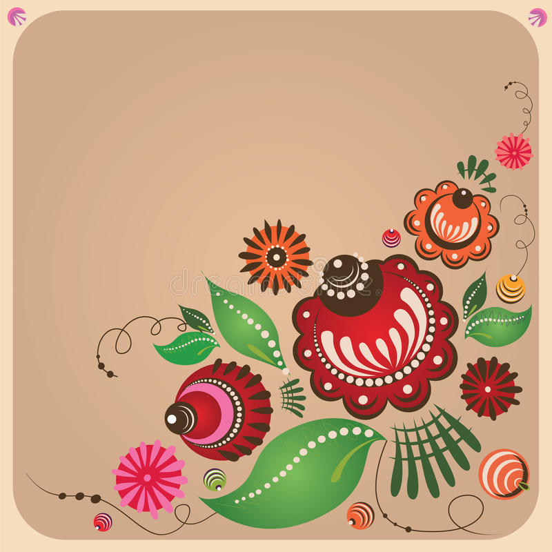 Blumenpostkarte der russischen Art lizenzfreie abbildung