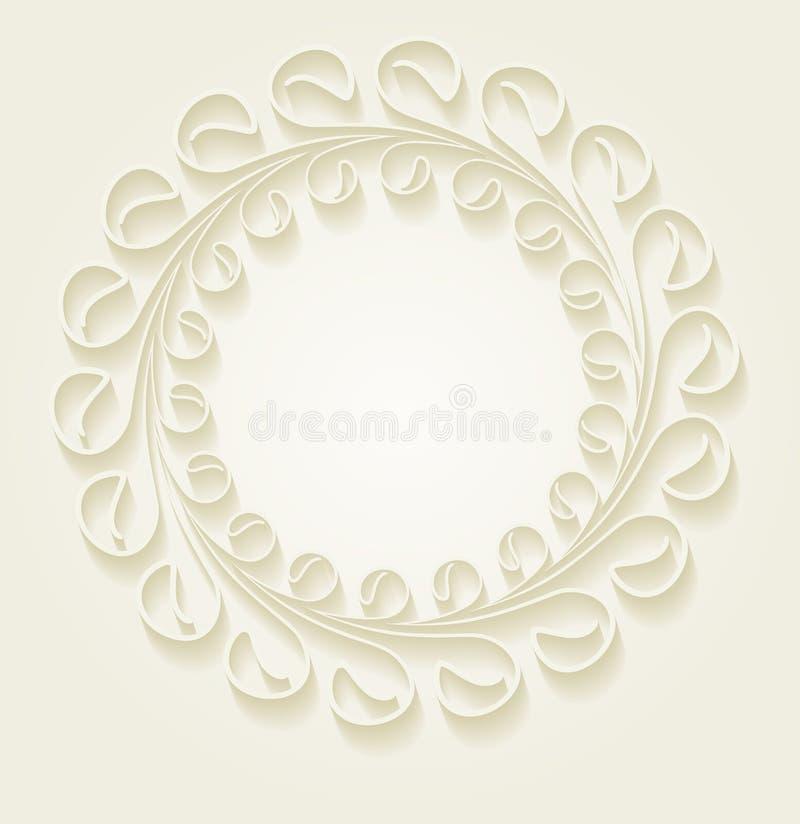 Blumenrahmen der ungewöhnlichen runden Weinlese für Ihr Design mit Schatten stock abbildung