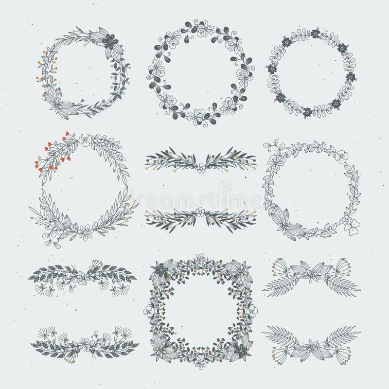 Blumenrahmen des unterschiedlichen Vektors von den Niederlassungen Dekorative Naturverzierungen vektor abbildung