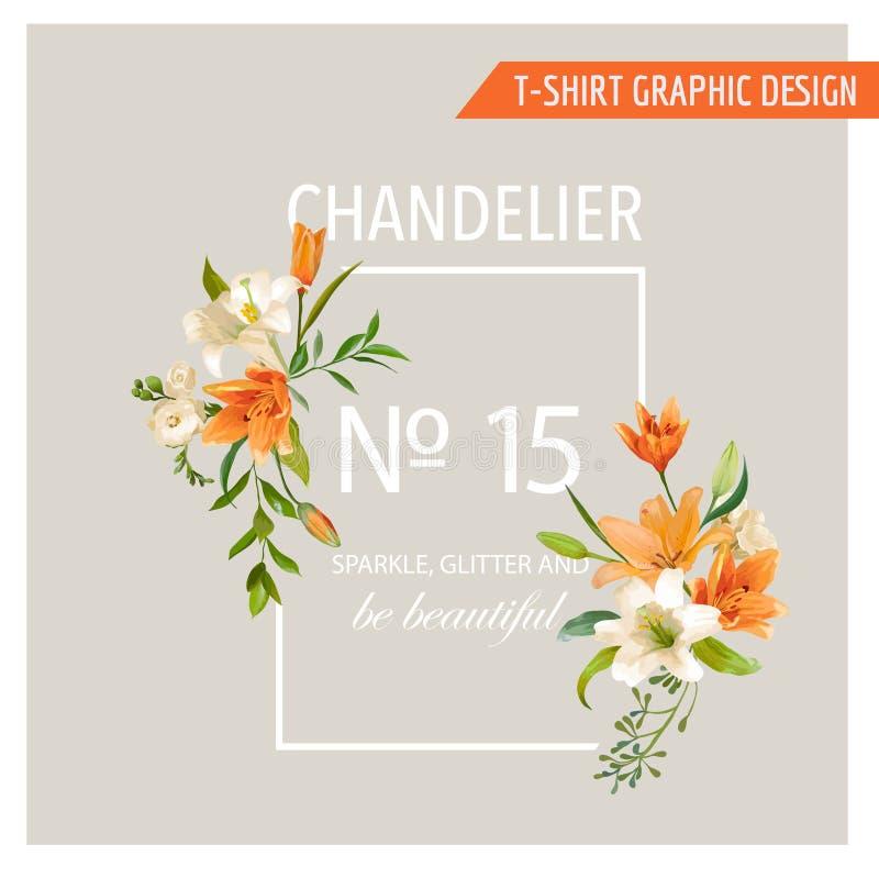 Blumenrahmen-Grafikdesign - Sommer Lily Flowers - für T-Shirt vektor abbildung