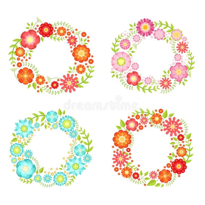 Blumenrahmen im Kreis formt mit Platz für Ihren Text Vektorweinlesesammlung vektor abbildung
