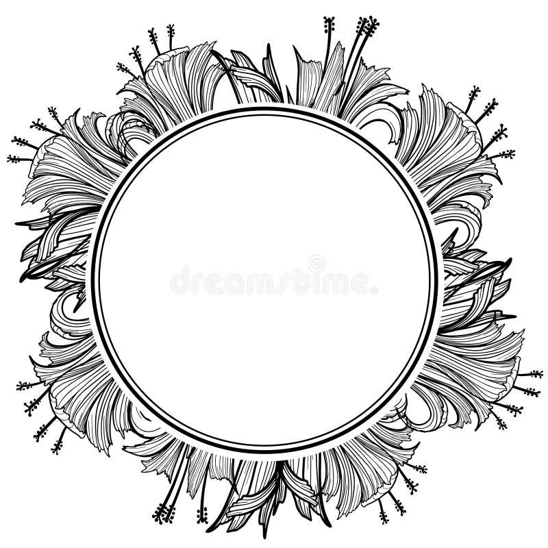 Blumenrahmen mit Blumen und Platz f?r Text Elegantes Element f?r Designschablone Auch im corel abgehobenen Betrag lizenzfreie abbildung