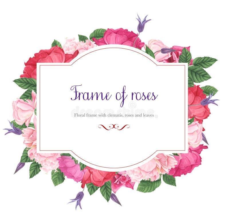 Blumenrahmen mit den rosa und roten Rosen, den purpurroten Klematis und den grünen Blättern, Aquarellmalerei stock abbildung