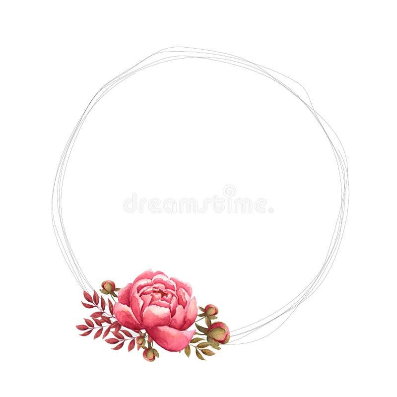 Blumenrahmen mit handgemalten Aquarellpfingstrosenblumen und Knospe, Blätter und Niederlassungen im hellen Rosa, rote Farben Deko lizenzfreie abbildung