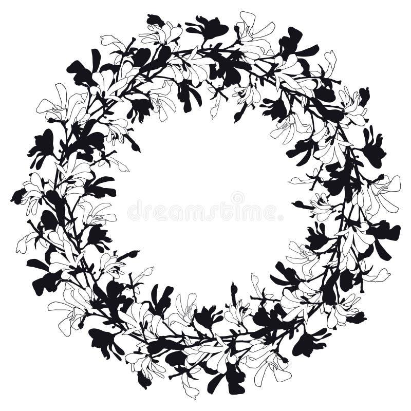 Blumenrahmen mit Magnolienbaumblüte in Schwarzweiss Hintergrund mit Niederlassungs- und Magnolienblume Fr?hlings-Kranz vektor abbildung