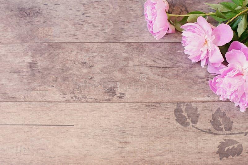Blumenrahmen mit rosa Pfingstrosen auf hölzernem Hintergrund Angeredete vermarktende Fotografie Kopieren Sie Platz Hochzeit, Guts stockfotografie