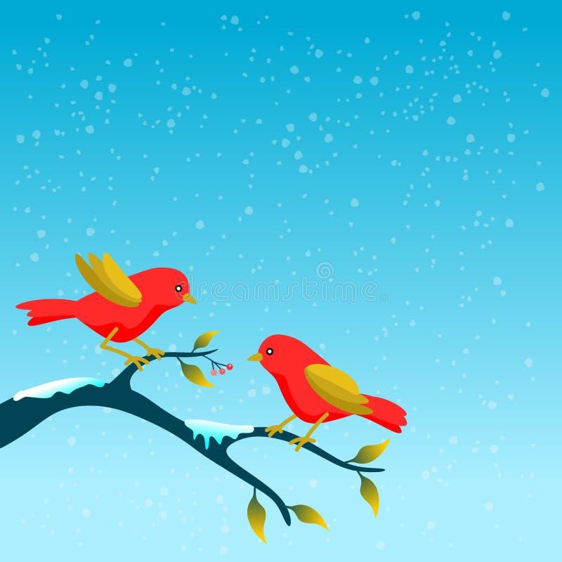 Blumenrahmen viel sagend zum Winter, mit zwei Vögeln auf Baumast vektor abbildung