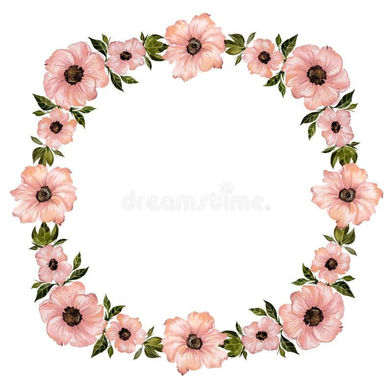 Blumenrahmenillustration Schöne rosa Blumen mit grünen Blättern Rundes Muster auf weißem Hintergrund mit Raum für Ihren Text vektor abbildung