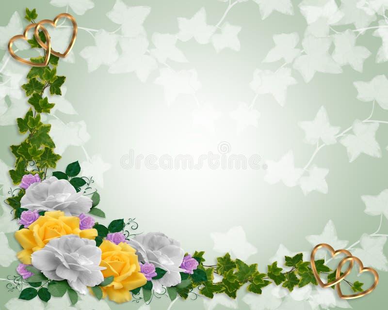 Blumenrandeinladungsefeu und -rosen vektor abbildung