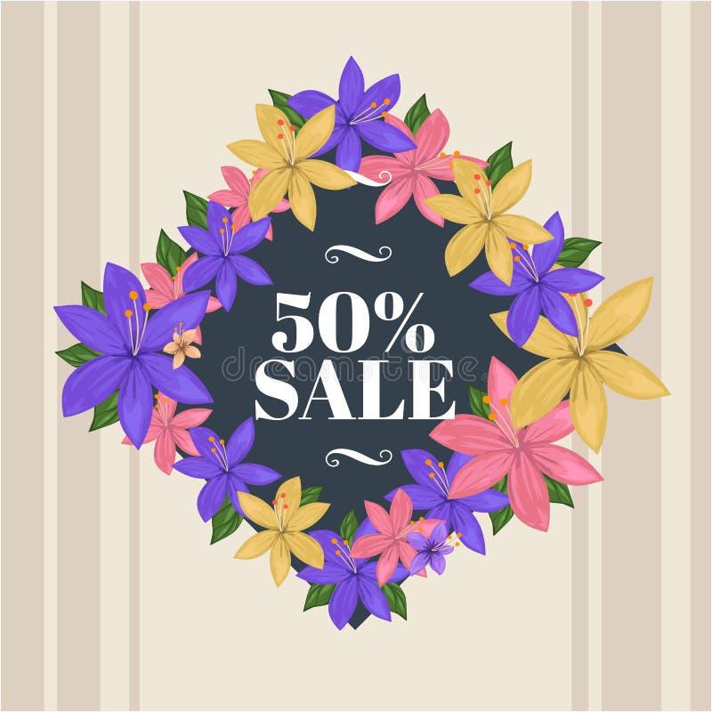 Blumenrautenbrett mit 50% Verkaufstext-Frühlingsillustration lizenzfreies stockfoto