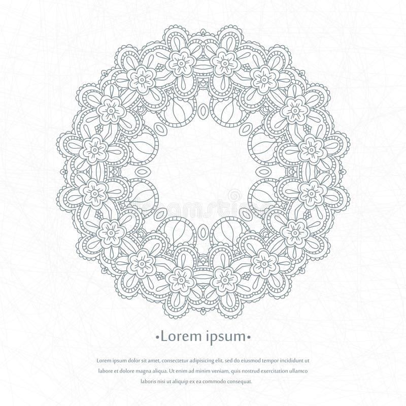 Blumenrundschreibenhintergrund Eine stilisierte Zeichnung mandala Stilisierte Spitzeverzierung Indische Blumenverzierung lizenzfreie abbildung
