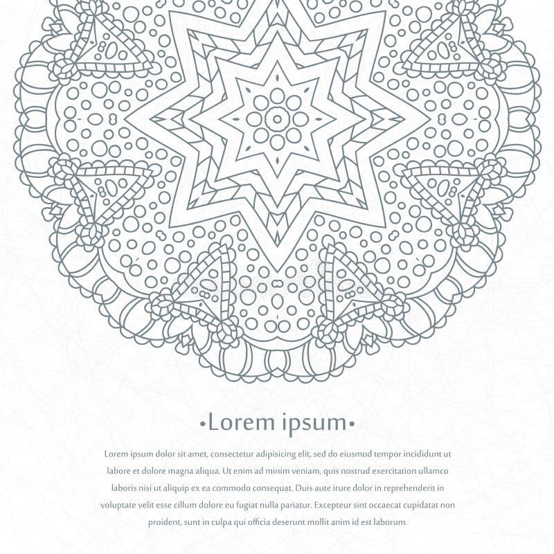 Blumenrundschreibenhintergrund mandala Stilisierte Spitzeverzierung Indische Blumenverzierung Schöne Spitzen- weiße Tischdecke, D stock abbildung