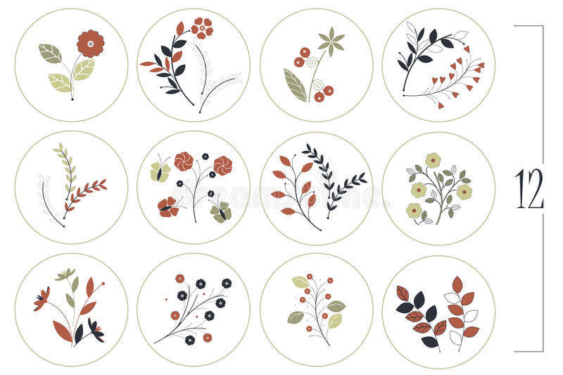 Blumensatz mit dekorativen Blumen, Blättern und Niederlassungen lizenzfreie abbildung