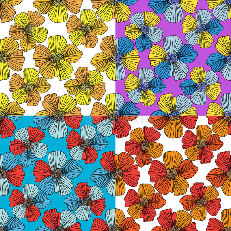 Blumensatz nahtlose Muster lizenzfreie abbildung