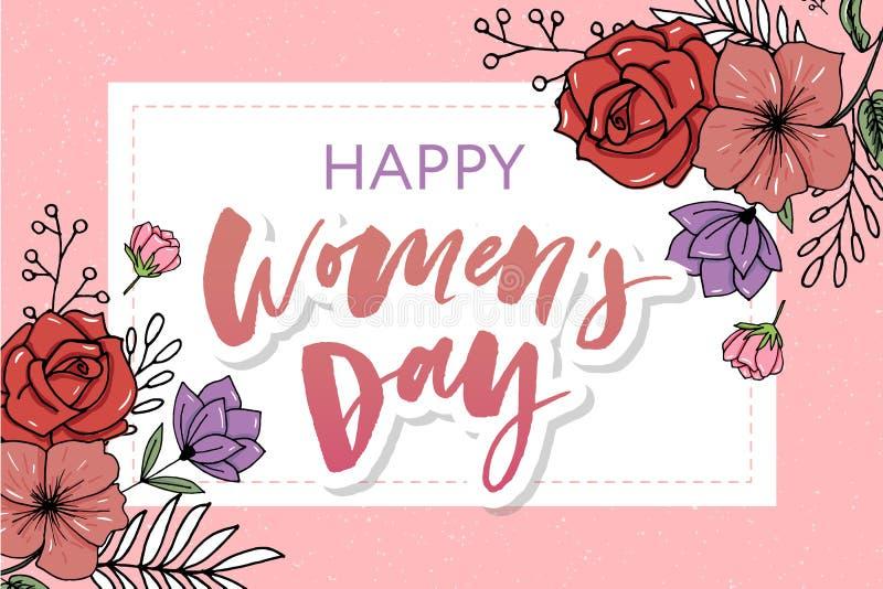 Blumenschöne Blumenkunstaquarellverkaufs-Fahnenart für den 8. März, Mother' s-Tag Women' s-Tag lizenzfreie abbildung