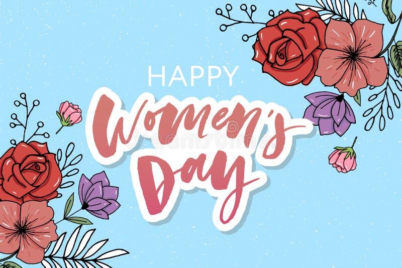 Blumenschöne Blumenvektoraquarellverkaufs-Fahnenart für den 8. März, Mother' s-Tag Women' s-Tag lizenzfreie abbildung