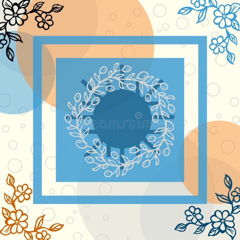 Blumenschal mit Blase und Linie Motiv stock abbildung