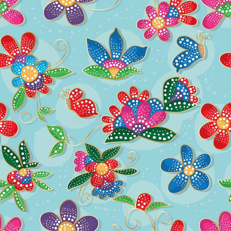 Blumenschmetterling Batik-Stil, modern, nahtlos vektor abbildung