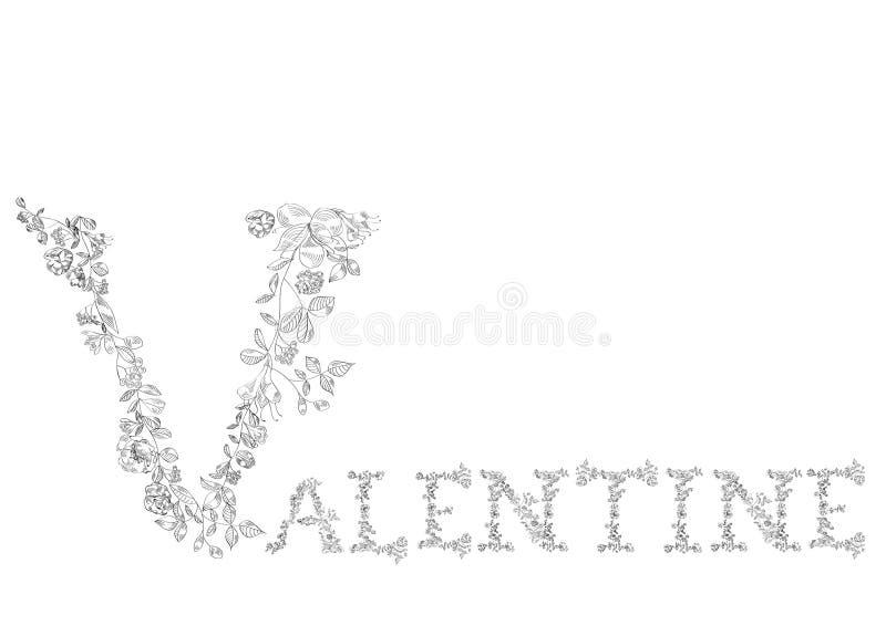 Blumenschrifttyp. Zeichen-Valentinsgruß vektor abbildung