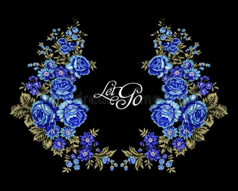 Blumenstickereit-shirt lizenzfreie abbildung