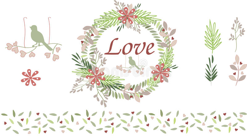 Blumensträuße, Blätter und Vogel lizenzfreies stockfoto