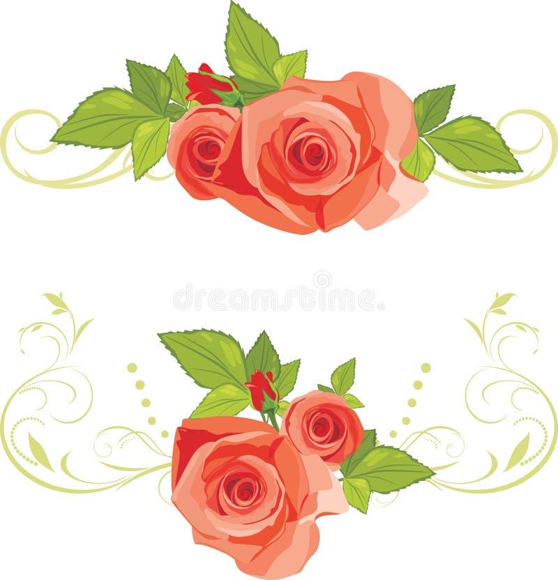 Blumensträuße der Rosen. Dekorative Ränder lizenzfreie abbildung
