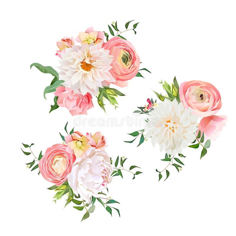 Blumensträuße von stiegen, Pfingstrose, Ranunculus, Dahlie, Gartennelke, Grünpflanzen lizenzfreie abbildung