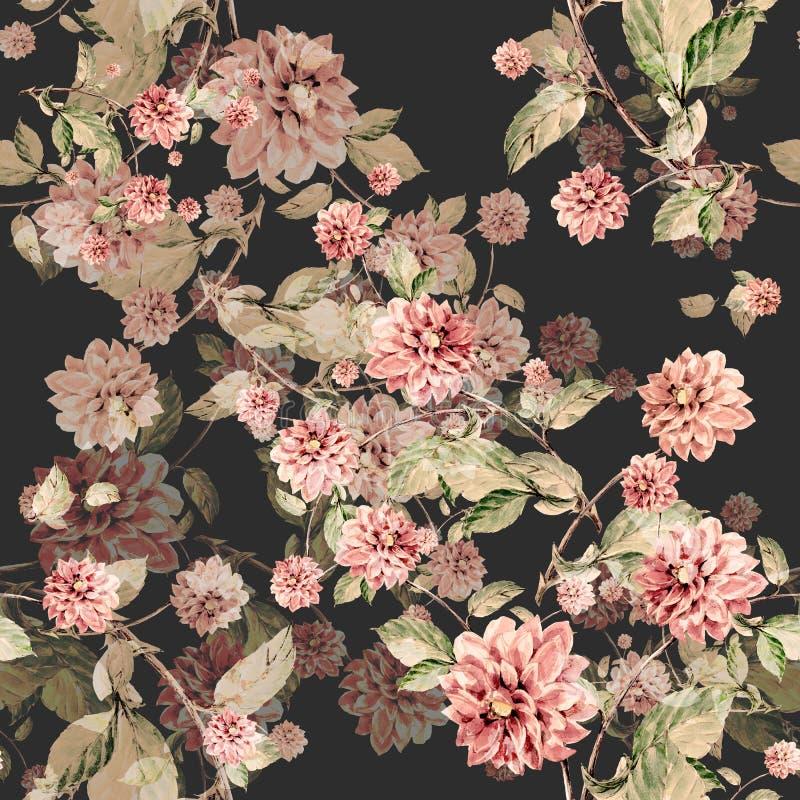 Blumenstrauß blüht nahtloses Muster des Dahlienaquarells lizenzfreie abbildung