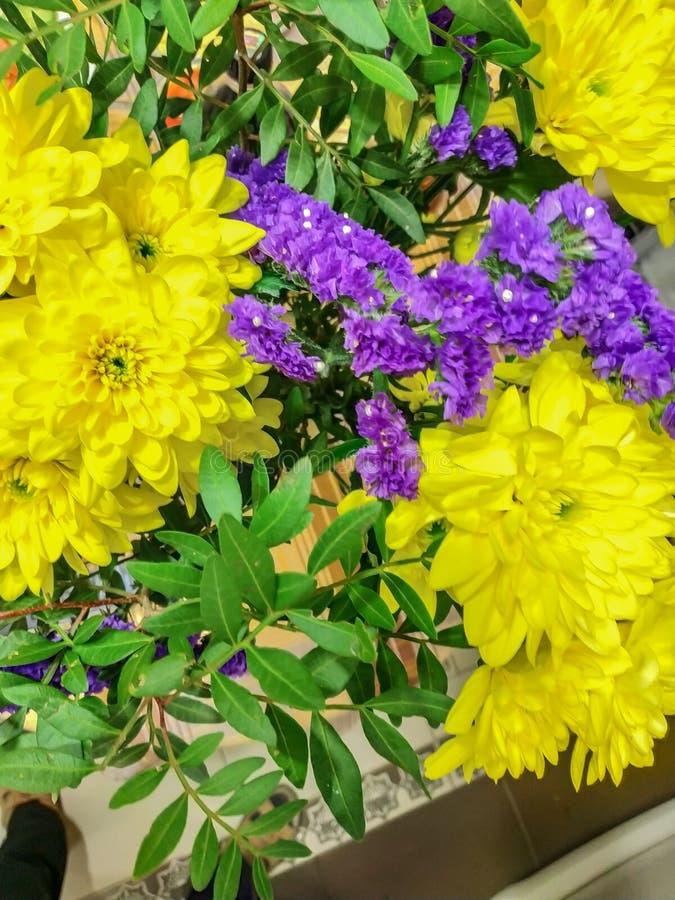 Blumenstrauß Blumen des gelben chrysontemum Hintergrund-Beschaffenheitsfeiertags lizenzfreies stockfoto