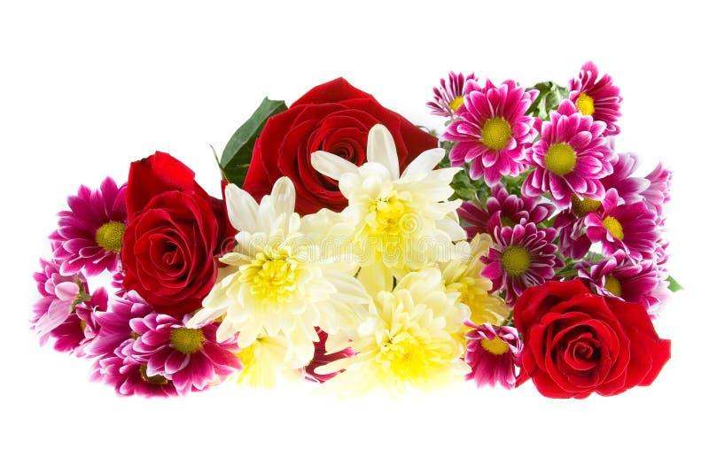 Blumenstrauß der Chrysanthemen und der Rosen stockbild