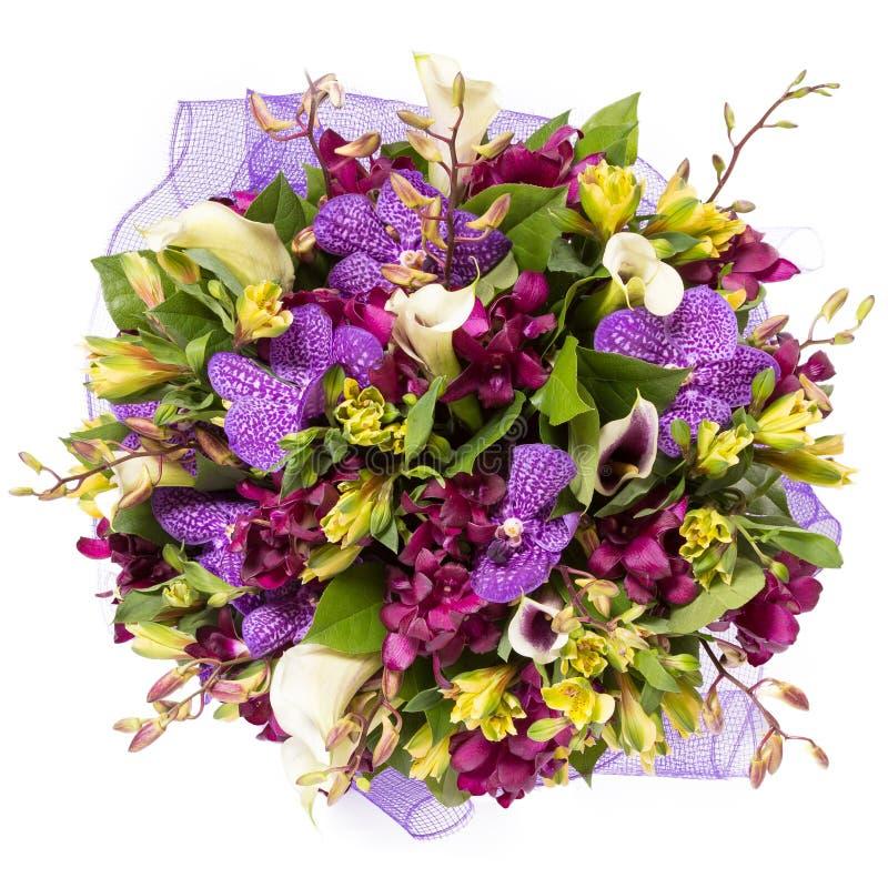 Blumenstrauß der Draufsicht der Blumen lokalisiert auf Weiß lizenzfreie stockfotografie