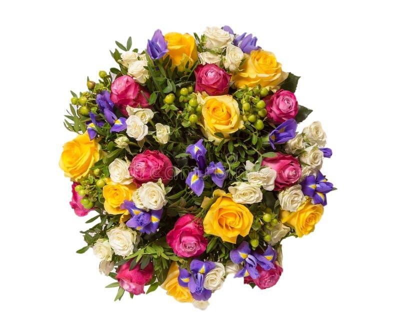 Blumenstrauß der Draufsicht der Blumen lokalisiert auf Weiß stockfotos
