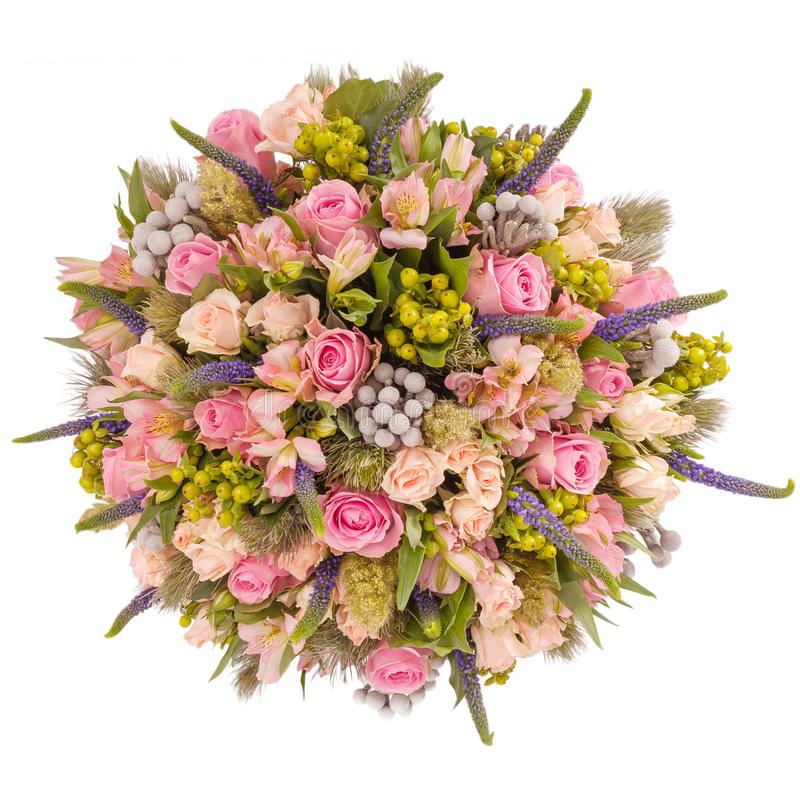 Blumenstrauß der Draufsicht der Blumen lokalisiert auf Weiß lizenzfreie stockbilder