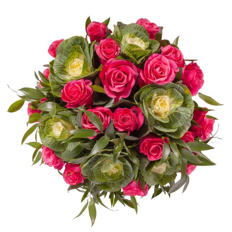 Blumenstrauß der Draufsicht der Blumen lokalisiert auf Weiß lizenzfreie stockfotos