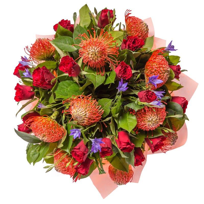Blumenstrauß der Draufsicht der Blumen lokalisiert auf Weiß lizenzfreies stockbild