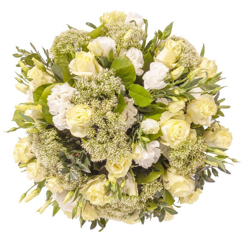 Blumenstrauß der Draufsicht der Blumen lokalisiert auf Weiß stockbild