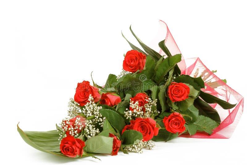 Blumenstrauß der frischen roten Rosen auf Weiß lizenzfreies stockbild