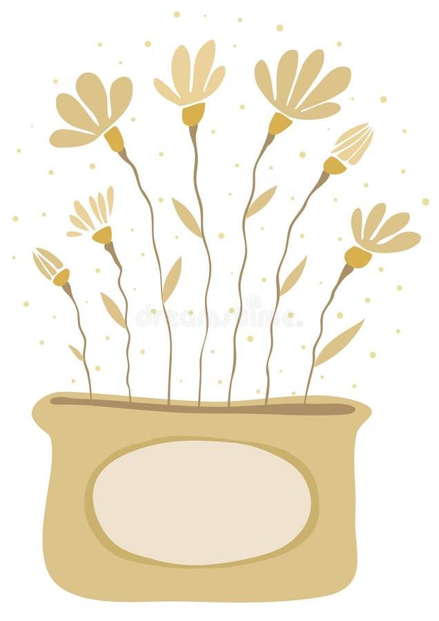 Blumenstrauß der gelben Blumen in einem Vase stock abbildung