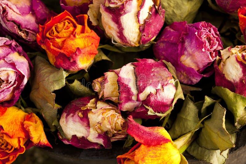 Blumenstrauß der getrockneten Rosen stockbilder