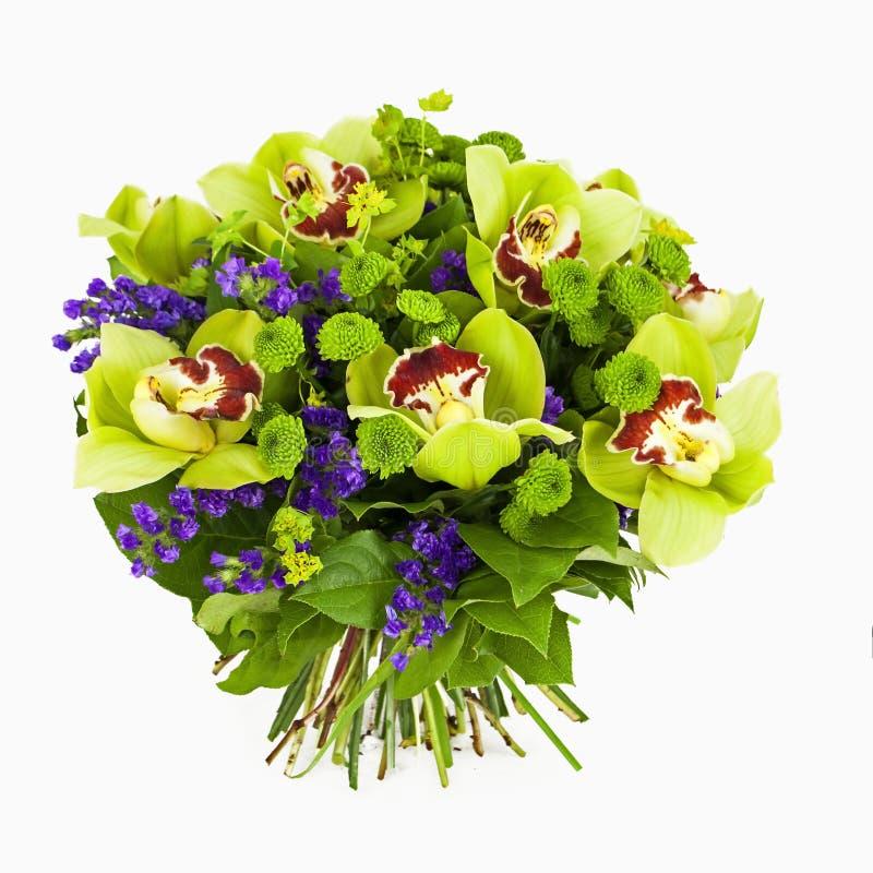 Blumenstrauß der grünen Orchideen getrennt auf Weiß stockbilder