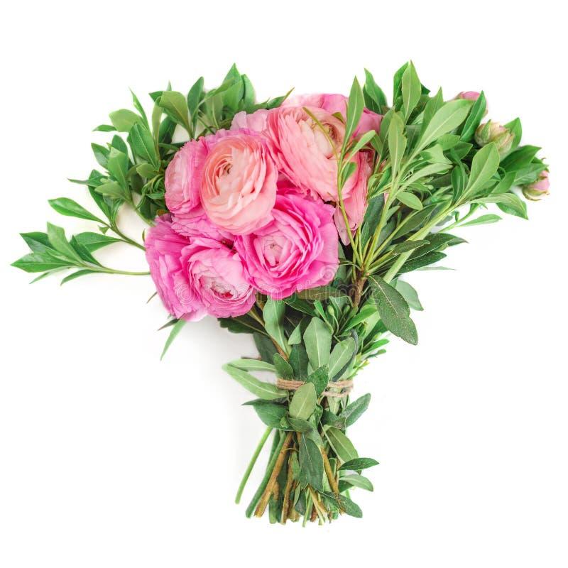 Blumenstrauß der Ranunculusblume lokalisiert auf einem weißen Hintergrund Schöne Butterblumefrühlingsblume für Heiratseinlad stockfotos