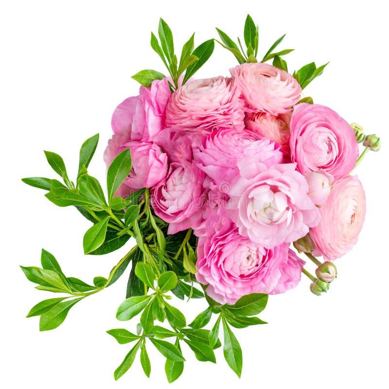 Blumenstrauß der Ranunculusblume lokalisiert auf einem weißen Hintergrund Schöne Butterblumefrühlingsblume für Heiratseinlad stockbild